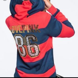 NWT PINK Victoria's Secret bling zip-up hoodie